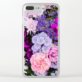 Pink Purple Flowers x Ultraviolet Clear iPhone Case