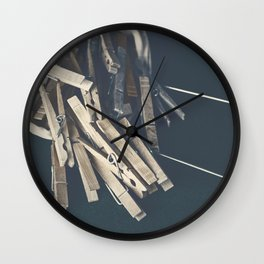 Wooden Clothespins 9 Wall Clock