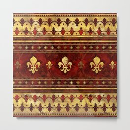 Fleur-de-lis Red Marble and Gold Metal Print