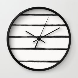 Skinny Strokes Gapped Horizontal Black on Off White Wall Clock