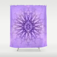 sacred geometry Shower Curtains featuring Sacred Geometry  Mark Day  by MARK DAY