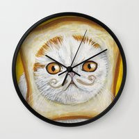 snoopy Wall Clocks featuring Snoopy aka Breadcat - Cats with Moustaches by Megan Mars