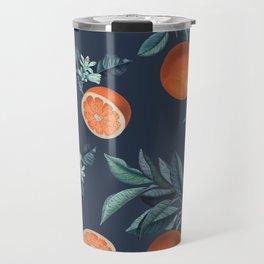 Lemon and Leaf Pattern VI Travel Mug