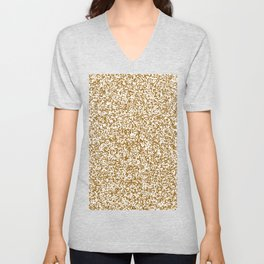 Tiny Spots - White and Golden Brown Unisex V-Neck