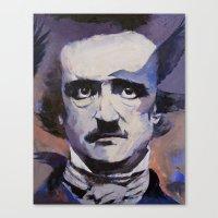edgar allan poe Canvas Prints featuring Edgar Allan Poe by Michael Creese