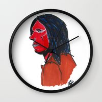 neil gaiman Wall Clocks featuring Neil Young by Urban Knish