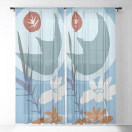 zen garden super moon Sheer Curtain