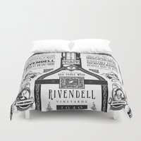 lotr Duvet Covers featuring Lord of the Rings Rivendell Vineyards Vintage Ad by Barrett Biggers