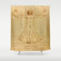 da vinci Shower Curtains featuring Leonardo da Vinci - Vitruvian Man by Elegant Chaos Gallery