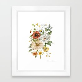 Wildflower Bouquet on White Framed Art Print