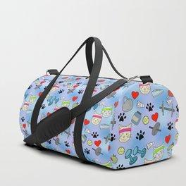 Cat Fitness Repeating Pattern Duffle Bag