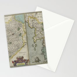Vintage Map - Ortelius: Theatrum Orbis Terrarum (1606) - Le Maine; Brittany & Normandy, France Stationery Cards