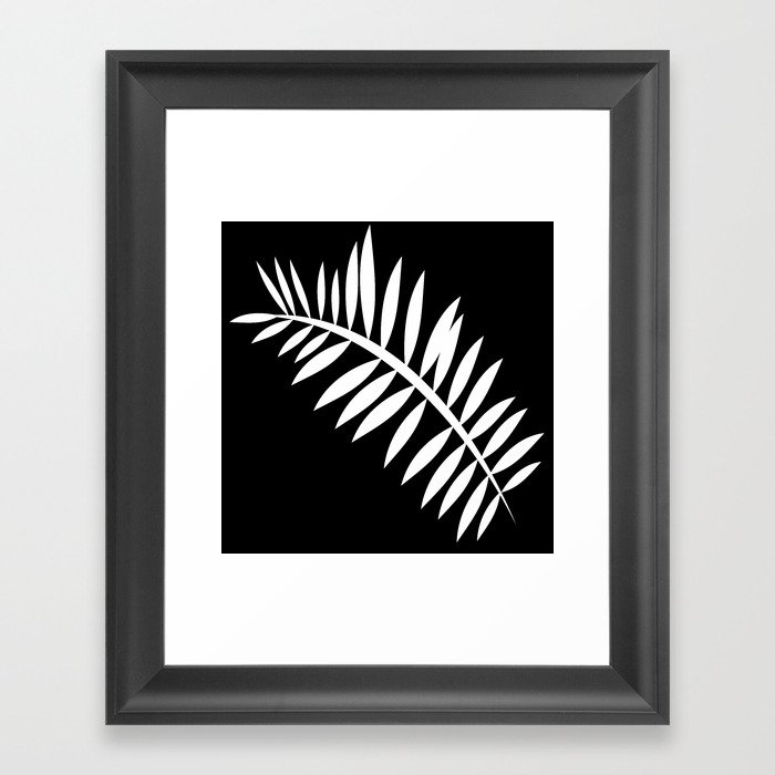 PALM LEAF WHITE LEAF Gerahmter Kunstdruck