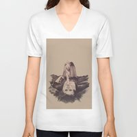smoke V-neck T-shirts featuring smoke by Andreea Red
