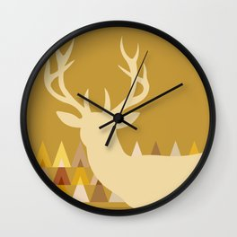 Deer Head Geometric Triangles | mustard yellow taupe Wall Clock