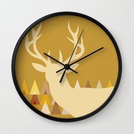 Deer Head Geometric Triangles | mustard yellow taupe Wall Clock