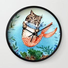 Cute Purrmaid Cat Mermaid Wall Clock