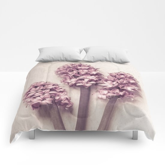 Three Pink Hyacinths Comforters