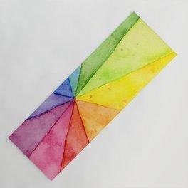 Rainbow Watercolor Geometric Pattern Yoga Mat