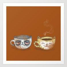 Grumpy Cup, Happy Cup Art Print