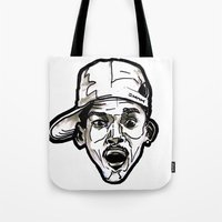 fresh prince Tote Bags featuring Prince Breath of Fresh Air by sketchnkustom