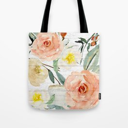 Watercolor Flowers on Rustic Wood Tote Bag