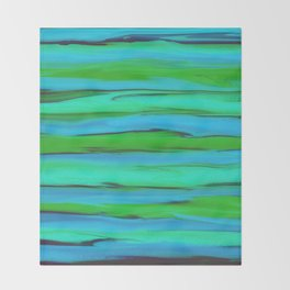 Apple Green, Seafoam, and Azure Blue Stripes Abstract Throw Blanket