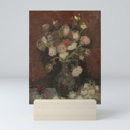 Vase with Chinese Asters and Gladioli Mini Art Print