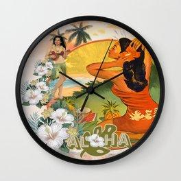 Retro Hawaiian Hibiscus and Hula Dancer Wall Clock