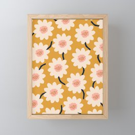 Flower field - yellow Framed Mini Art Print