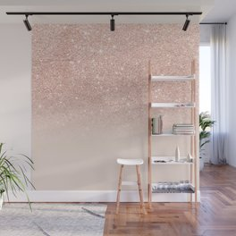 Rose gold faux glitter pink ombre color block Wall Mural