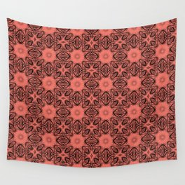 Peach Echo Floral Wall Tapestry