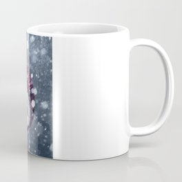 Santa Claus walking thru a winter snow storm to deliver Christmas Gifts Coffee Mug