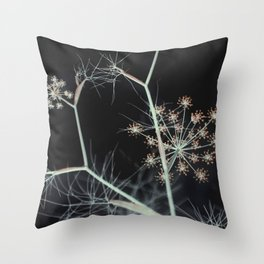 Elegant Dark Floral Abstract Nature Throw Pillow