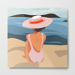 Relaxing girl in pink hat on beach landscape background, Hand drawn cartoon summer time illustration Metal Print