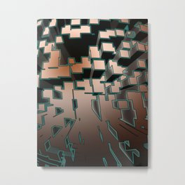 Neon Extrusion I - Cyberpunk Abstract Design Metal Print