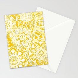 Marigold Yellow Mandala Pattern Stationery Cards