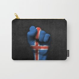 Icelandic Flag on a Raised Clenched Fist Carry-All Pouch