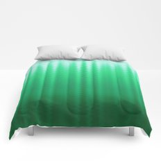 Green and Blue Ombre Soft Wavy Lines Comforters