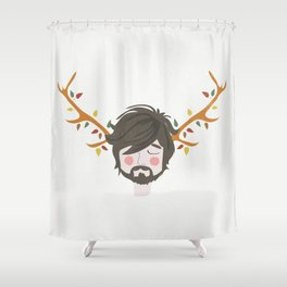 The Man With The Antlers Shower Curtain