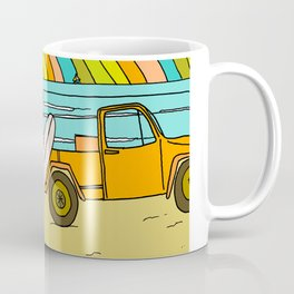 Retro Surf Days Single Fin Pick Up Truck Coffee Mug