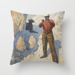 "William Leigh Western Art ""The Holdup"" Throw Pillow"