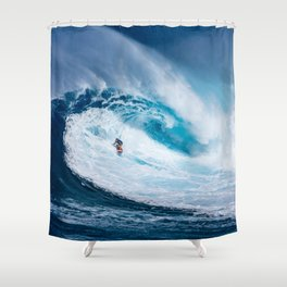 Wave and Surfer Shower Curtain