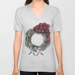 Christmas wreath of happiness Unisex V-Neck