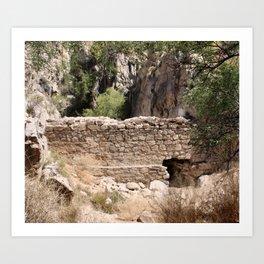 Stone Wall in a Desert Canyon Art Print