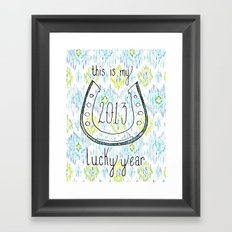 2013 - My Lucky Year Print, hand lettered horse-shoe Framed Art Print