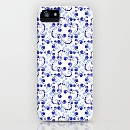 Floral pattern in blue iPhone Case