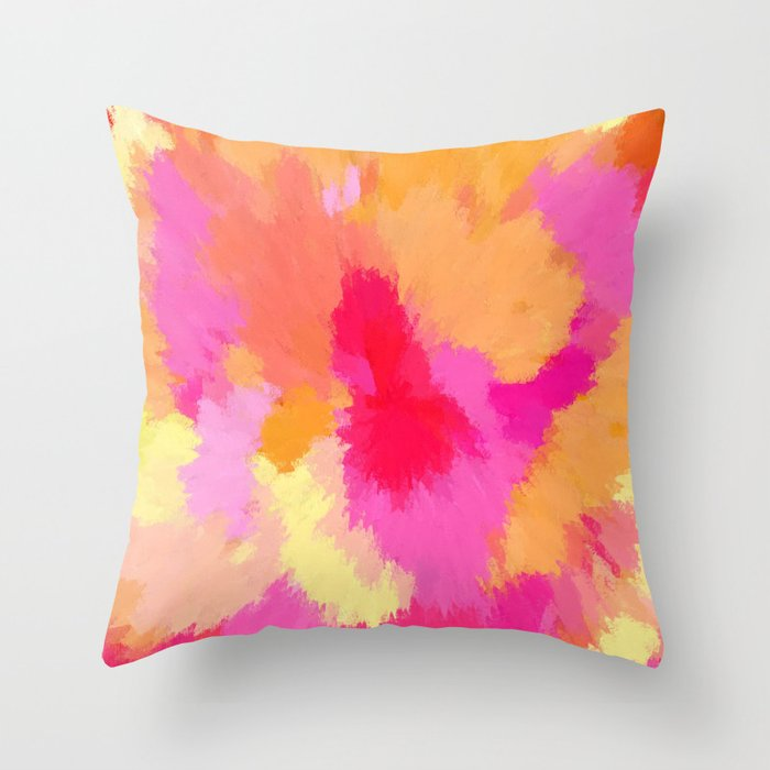 Pink, Orange and Yellow Watercolors Throw Pillow