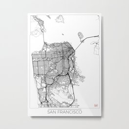 San Francisco Map White Metal Print
