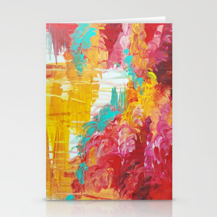 Autumn Skies Amazing Fall Colors Thunder Storm Rainy Sky Clouds Bold Colorful Abstract Painting Stationery Cards By Ebiemporium